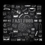 Постер, плакат: Fast food doodle set