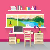 Modern interior in pink. — Stock Vector