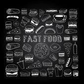 Fast food doodle set — Stock Vector