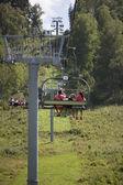 The ski lift in the Altai mountains — Stock Photo
