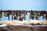 Padlocks closed on the memory of eternal love — Stock Photo