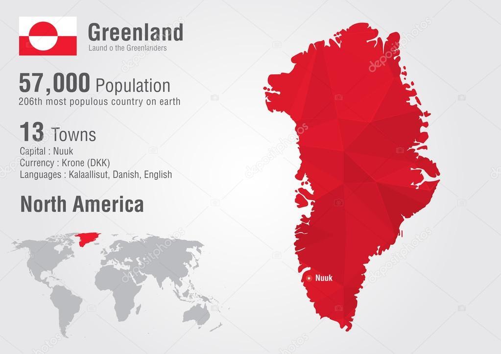 格陵兰岛世界地图与像素钻石纹理