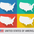USA world map in flat style with 4 colors. — Vettoriale Stock  #53988511