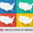 USA world map in flat style with 4 colors. — Vector de stock  #53988511