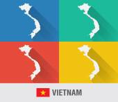 Vietnam world map in flat style with 4 colors. — Stock Vector
