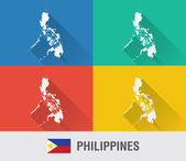 Philippines world map in flat style with 4 colors. — Stock vektor