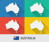 Australia world map in flat style with 4 colors. — Stock Vector