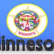 US state Minnesota, metal name in front of flag — Stock Photo #58789517