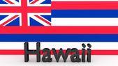 Nos estado de Hawaii, nombre del metal delante de la bandera — Foto de Stock