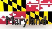 Uns Staat Maryland, Metall Namen vor der Flagge — Stockfoto