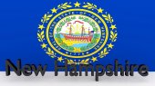 US state New Hampshire, metal name in front of flag — Foto de Stock