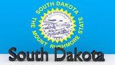 US state South Dakota, metal name in front of flag — Foto de Stock
