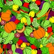 Vegetable seamless background. Cartoon, hand-drawing, pumpkin, zucchini, peppers, hot, chili, peas, tomato, cauliflower, cabbage, lettuce, cucumber, eggplant, beets, carrots — Stock Vector #52896891