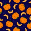 Pumpkin seamless pattern. Blue background. Ripe Vegetable — Stock Vector #53503527