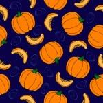 Pumpkin seamless pattern. Blue background. Ripe Vegetable — Stock Vector #53503527