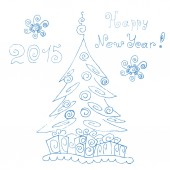 Festive pine. Happy new year 2015, Mary Christmas. Hand drawing — Stock Vector