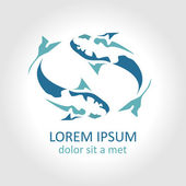 Fish abstract vector design logo template. Creative design concept. Seafood restaurant idea. Silhouette icon. — Stock Vector
