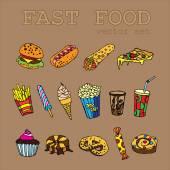Set of  cartoon food icons logo with a soda, cheeseburger, french fries, ice cream, hotdog,  pizza, sweets, donut, popcorn, shawarma for fastfood design — Stock Vector
