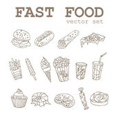 Set of  hand-drawing food icons logo with a soda, cheeseburger, french fries, ice cream, hotdog,  pizza, sweets, donut, popcorn, shawarma for fastfood design — Stock Vector