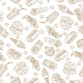 Vector seamless pattern with hand drawn  a soda, cheeseburger, french fries, ice cream, hotdog,  pizza, sweets, donut, popcorn, shawarma for fast food menu. — Stock Vector
