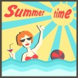 Vector illustration of a woman bathing in the sea and drinking cocktail. Sunlight. Ball game. Summer time. Postcard cartoon style for Holidays, vacation, traveling. — Stock Vector #71645535