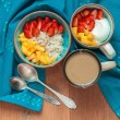 Oatmeal and cottage cheese with fruit — Stock Photo #74376881