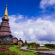 Stupa and garden on the top of Doi Inthanon, Thailand — Stock Photo #62559465
