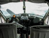 Detail of the cockpit of an old seaplane — Stock Photo