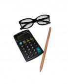 Calculator, pen and lens — Stock Photo