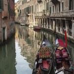 Venetian gondolas at canal, Venice, Italy — Stock Photo #52842133