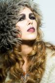 Blonde woman in fur hat — Stock Photo