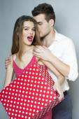 Playful cute young couple — Stock Photo