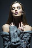 Portrait of tender sensual woman in grey knitted jacket  — Foto de Stock