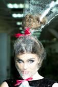 Woan's head in cellophane — Stockfoto