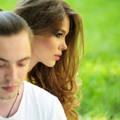 Portrait of young modern couple — Stock Photo
