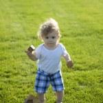 Little boy on the green meadow — Stock Photo #76456169