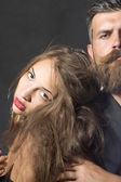 Closeup of sexy girl and man — Stock Photo