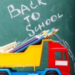 Colorful school stationary and car — Stock Photo #80965416