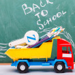 Colorful school stationary and car — Stock Photo #80965432