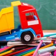 Colorful school stationary and car — Stock Photo #80965458