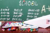 Avião de papel na lição da escola — Fotografia Stock