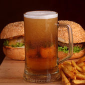 Beer burger and chips — Stock Photo
