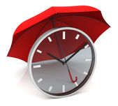 Time Clock with Red Umbrella — Stock Photo