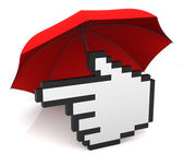 Hand Cursor with Umbrella — Stock Photo