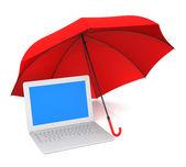Ochrona komputera i parasol — Zdjęcie stockowe