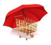 Shopping Cart and Umbrella — Stock Photo
