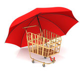 Shopping Cart and Umbrella — ストック写真
