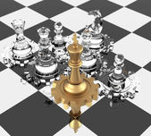 Chess King and Gears — Foto Stock