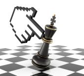 Hand and Black Chess King — Stock Photo