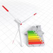 Energy Efficiency Home Puzzle and Wind Turbine — Stock Photo
